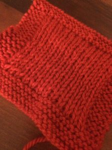 Kettle Holder in Double Knitting, red wool